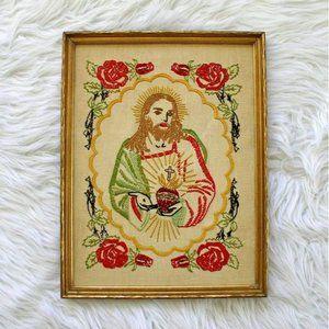 Vintage Jesus & the Sacred Heart Framed Embroidery